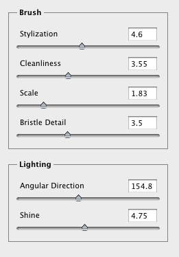 Oil Paint filter settings used for image examples
