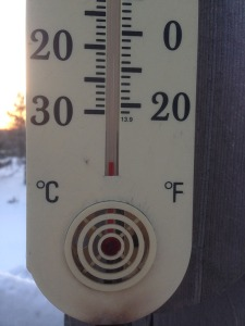 The deck thermometer at sunrise 2015 02 13