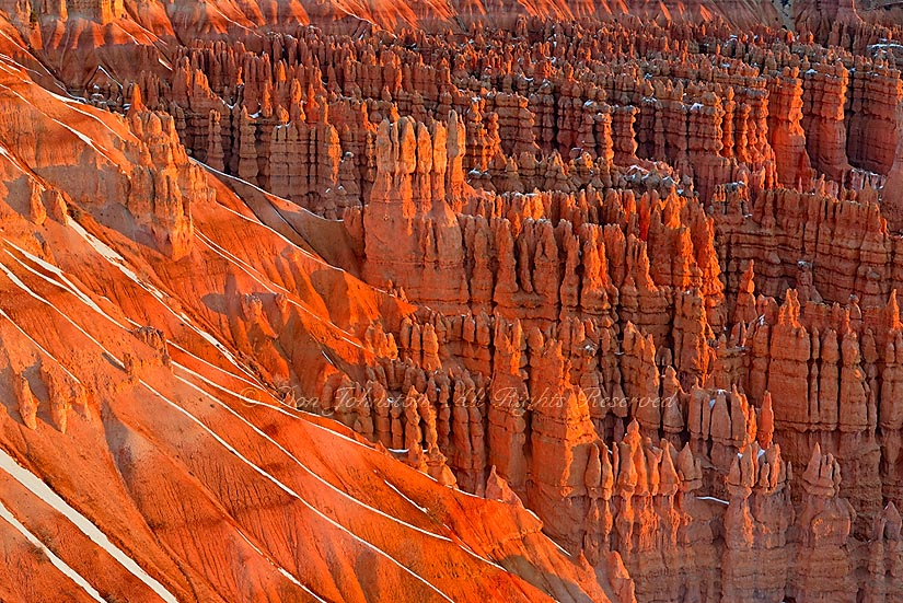 Hoodoos and winter snow from Inspiration Point at dawn, Bryce Canyon National Park, Utah, USA